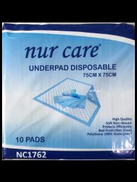 Nur Care Underpad Disposable 75cm x 75cm - 10's | JH Pharmex